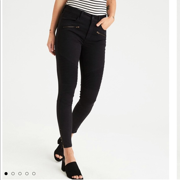 8c98250fb89 Onyx black hi-rise moto jeggings jean with zipper. NWT. American Eagle  Outfitters